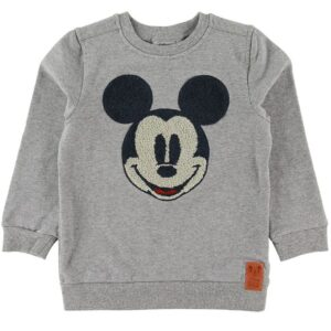 Wheat Disney Sweatshirt - Mickey Face Terry - Gråmeleret